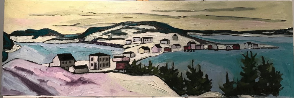Little Bay East, NL based on a photo by Lloyd Green (1965-66). My grandparent's house was the saltbox one (third structure from left). Painted fall 2018. Oil on canvas. Painted under the guidance of Gordon Harrison.