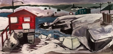 "Pouch Cove, NL based on a photo by ""Mr. Grips."" Painted fall 2018. Oil on canvas. Painted under the guidance of Gordon Harrison."