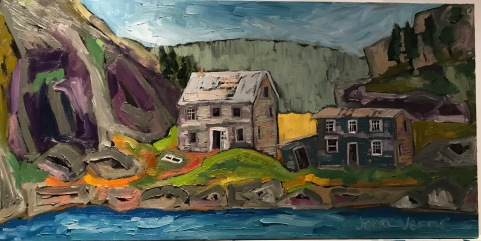 Round harbour, based on a photo by Justin Wellman. Painted fall 2018. Oil on canvas. Painted under the guidance of Gordon Harrison.