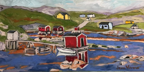 Twillingate, NL, oil on canvas, based on my photo. Painted fall 2018. Painted under the guidance of Gordon Harrison. Featured in Newfoundland Quarterly.