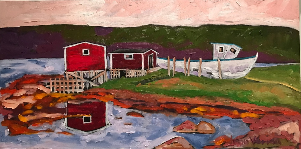 Somewhere along the Avalon peninsula (later found out this is Aquaforte, NL), I took a detour and found the prettiest of fishing relics. Painted fall 2018, based on my photo. Oil on canvas. Painted under the guidance of Gordon Harrison.