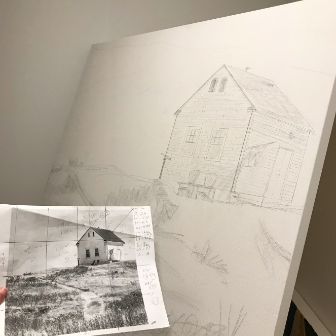 Pencil sketch on a 36x36in canvas based on a landscape photo