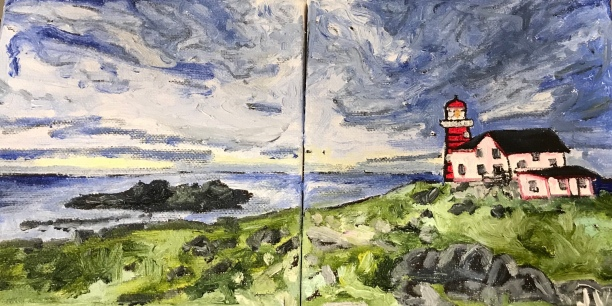 Ferryland, NL, painted spring 2018 based on a photo by Elena Elisseeva