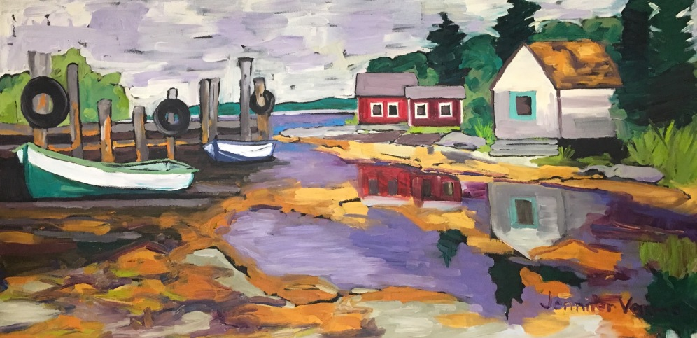 Cape Breton, Nova Scotia, painted summer 2016, based on a photo by Dr. Jamie Bonaparte (painted under the guidance of Canadian landscape painter, Gordon Harrison). Featured in Atlantic Books Today.
