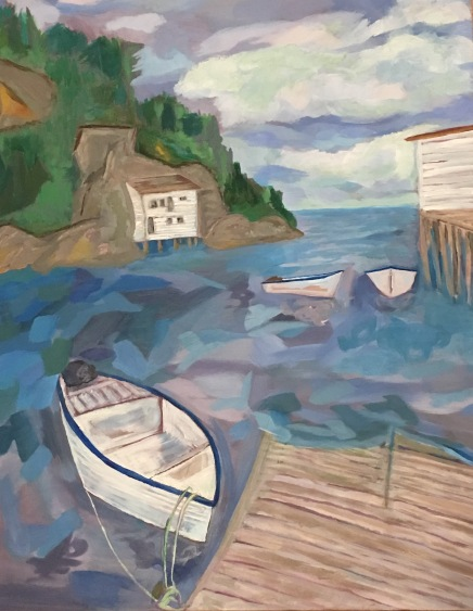 Shoe Cove on the Baie Verte Peninsula of Newfoundland, painted in winter 2017 based on a photo by Jason Dunne of That's the One Photography! (painted under the guidance of Canadian painter, Rosemary Leach)