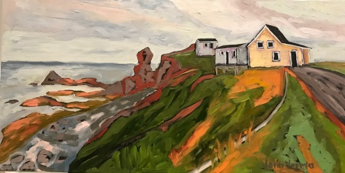 Twillingate, NL, based on my photo. Oil on canvas. Painted under the guidance of Gordon Harrison. Featured on the cover of Atlantic Books Today.