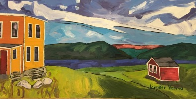 Norris Point in Gros Morne, Newfoundland, overlooking the Tablelands and Bonne Bay, painted in summer 2016 (painted under the guidance of Gordon Harrison)