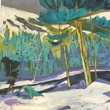 Winter trees painted with Canadian landscape painter, Gordon Harrison, and based on his les manteaux blancs de l'hiver 2016-17 collection http://gordonharrisongallery.com/