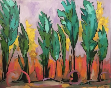 Spring trees painted with Canadian landscape painter, Gordon Harrison, and based on his A Spring Affair 2017 collection http://gordonharrisongallery.com/