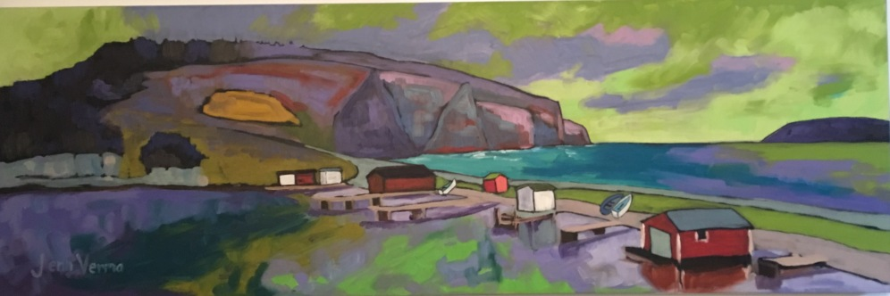 Champneys, Newfoundland, painted with Canadian landscape painter, Gordon Harrison, and based on his Seaside Poetry from Atlantic Canada 2015 collection http://gordonharrisongallery.com/
