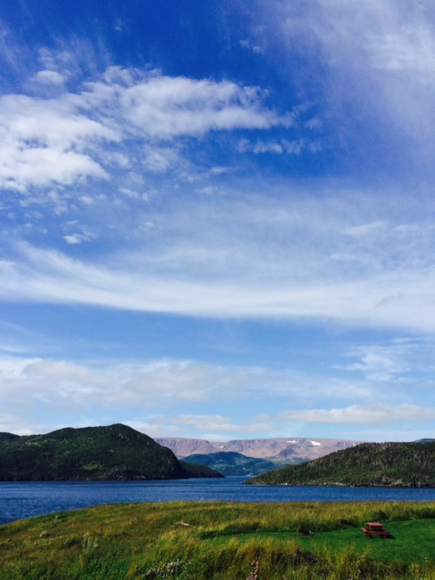 Taken from the garden at Neddies Harbour Inn, a most spectacular view to the Tablelands (far right) and overlooking Bonne Bay in Norris Point, Newfoundland