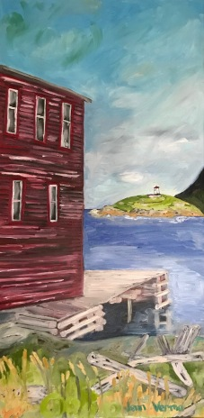 Trinity East NL painting for the Gordon Harrison Apprentices Show at Manotick Art Gallery and Framing / Photo Credit for the photo that inspired this painting goes to Jason Dunne of That's the One Photography