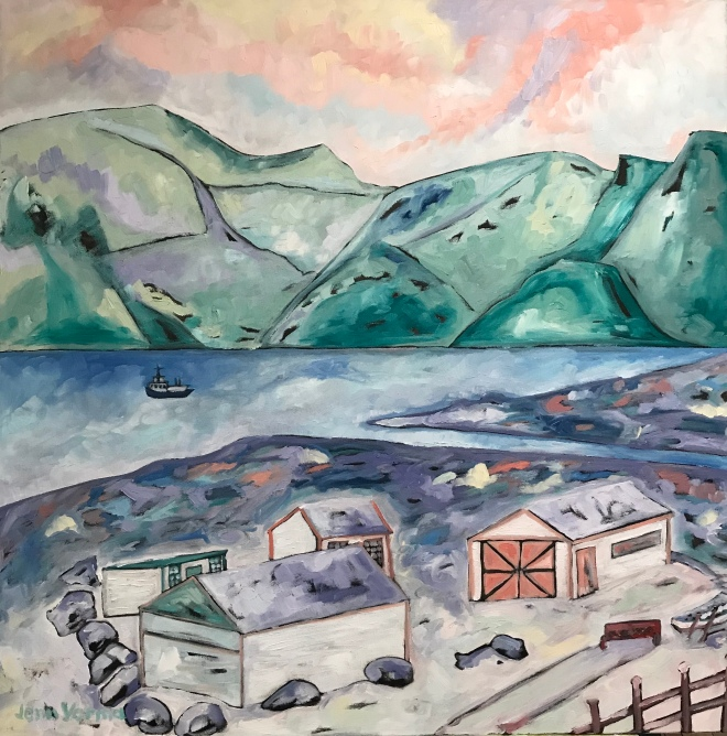 Pangnirtung on Baffin Island in Nunavut, Canada. Painted November 2017