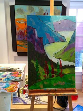 Gros Morne National Park and Western Brook Pond. Painted in 2015 with guidance from Gordon Harrison
