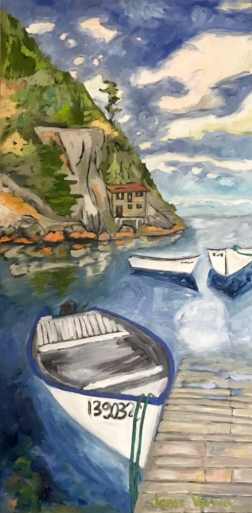 Shoe Cove NL painting for the Gordon Harrison Apprentices Show at Manotick Art Gallery and Framing / Photo Credit for the photo that inspired this painting goes to Jason Dunne of That's the One Photography